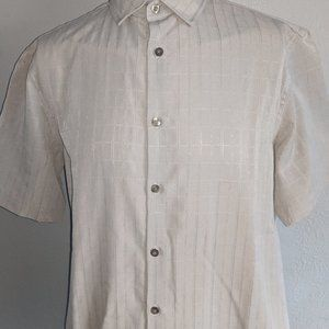 Alfani Tan Windowpane SS Shirt Med Excellent Cond